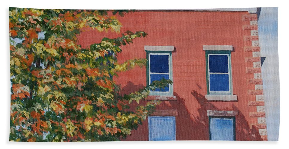 Acrylic Bath Sheet featuring the painting A Brick In Time by Lynne Reichhart