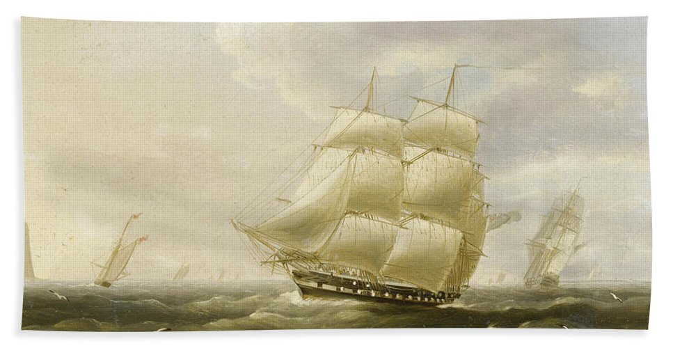 Thomas Buttersworth Bath Sheet featuring the painting A British Frigate Bowling Down The Channel On A Breezy Day Past The Eddystone Lighthouse by Thomas Buttersworth