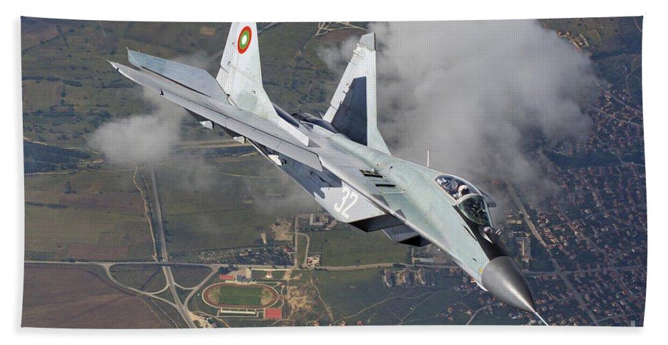 Bulgaria Bath Sheet featuring the photograph A Bulgarian Air Force Mig-29 In Flight by Daniele Faccioli