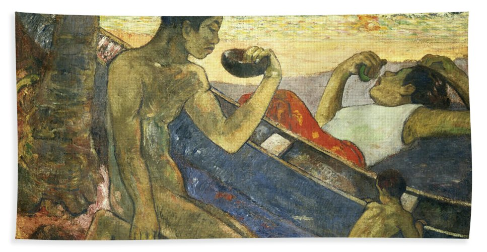 A Canoe (tahitian Family) Hand Towel featuring the painting A Canoe by Paul Gauguin