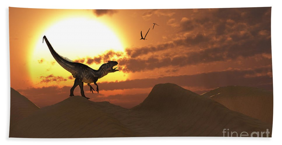Horizontal Bath Sheet featuring the digital art A Carnivorous Allosaurus Calling by Mark Stevenson