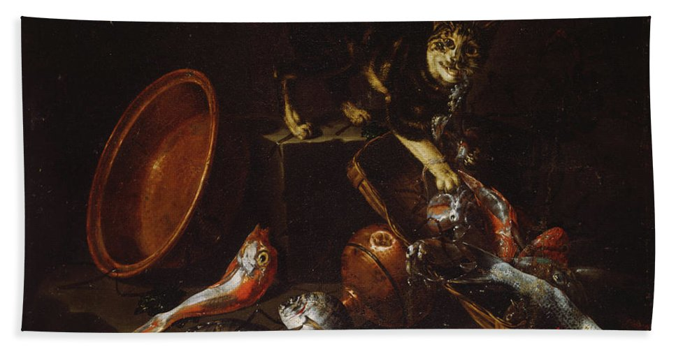 A Cat Stealing Fish Bath Sheet featuring the painting A Cat Stealing Fish by Giuseppe Recco