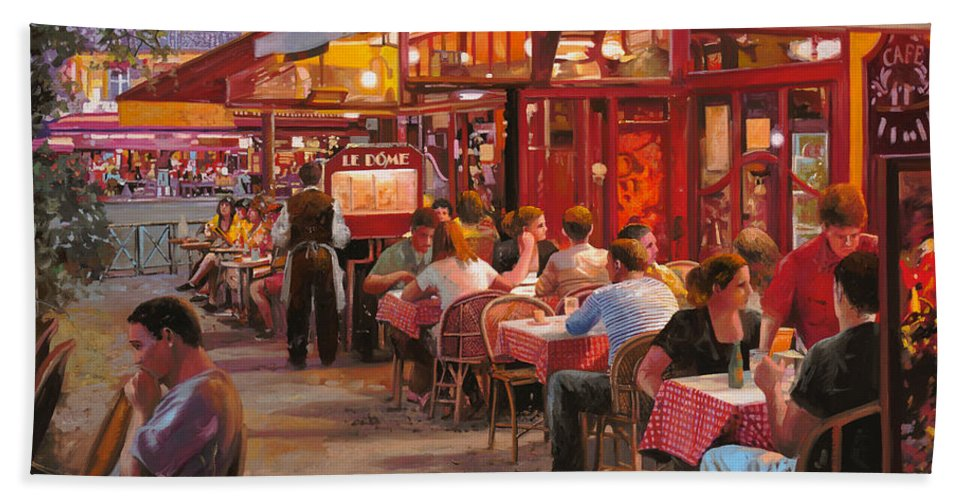 Street Scene Bath Towel featuring the painting A Cena In Estate by Guido Borelli