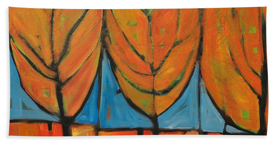 Fall Bath Towel featuring the painting A Change Of Seasons by Tim Nyberg