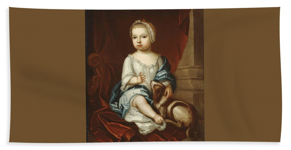 A Child Of The Pierpont Family 1730s Painting Painted Originally By Unidentified Artist Bath Sheet featuring the painting A Child Of The Pierpont Family by Unidentified artist