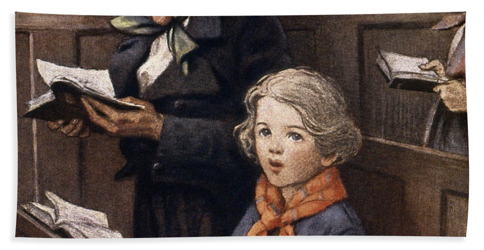 Aod Hand Towel featuring the painting A Christmas Carol by Granger