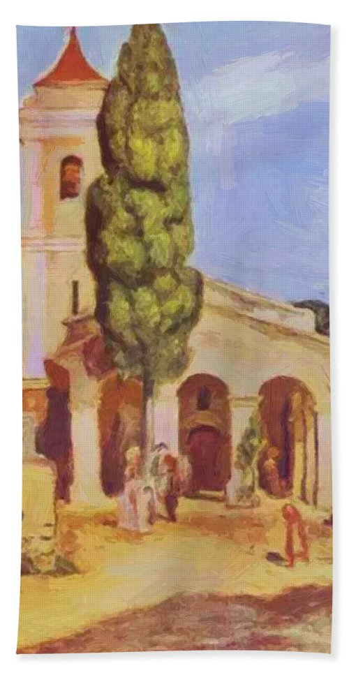 A Hand Towel featuring the painting A Church At Cagnes by Renoir PierreAuguste