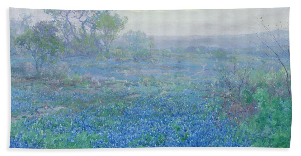 Blue Bonnets Bath Towel featuring the painting A Cloudy Day, Bluebonnets Near San Antonio, Texas by Julian Onderdonk