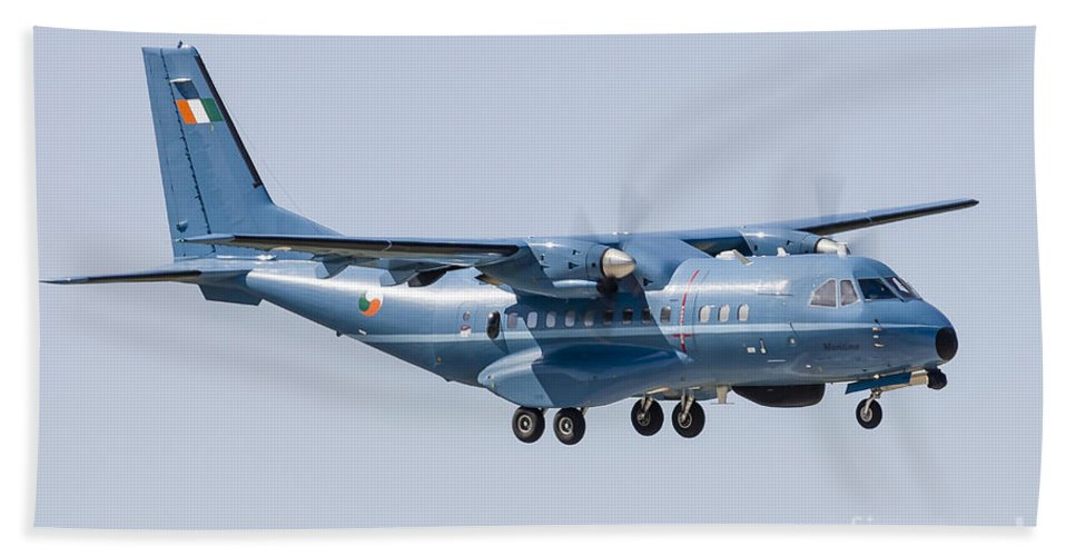 Aircraft Bath Sheet featuring the photograph A Cn-235 Transport Aircraft by Rob Edgcumbe