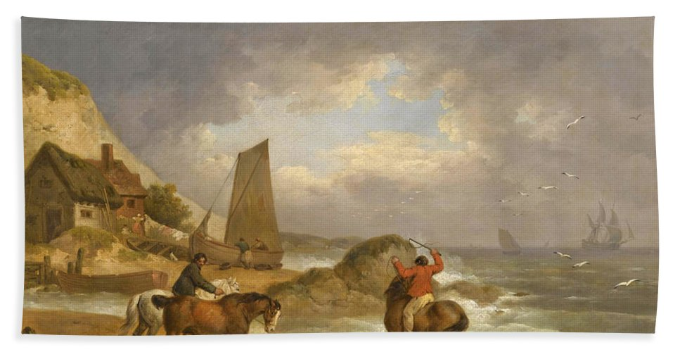 George Morland Hand Towel featuring the painting A Coastal Landscape Of The Isle Of Wight With Figures On Horse Back Near A Cottage by George Morland