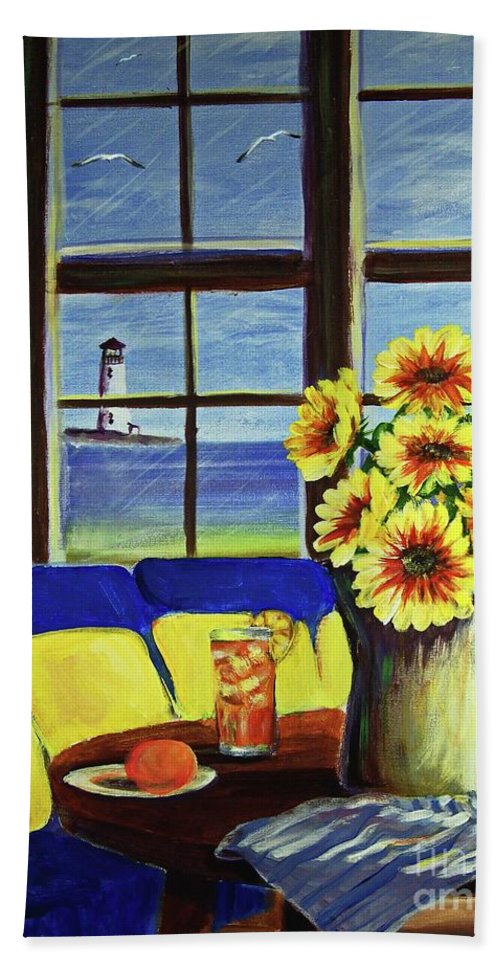 Beaches Bath Towel featuring the painting A Coastal Window Lighthouse View by Patricia L Davidson