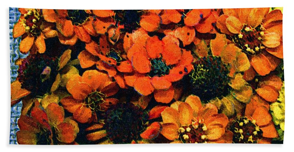 Flowers Bath Towel featuring the painting A Collation Of Brilliance by RC deWinter