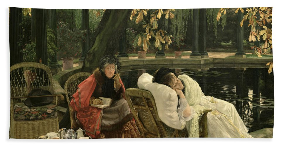 Illness; Lazing; Teatime; Unwell; Invalid; Nurse; Chaperone; Horse; Chestnut; Tree; Victorian; English; Girl; Colonnade; Pool; Autumn; Resting; Tissot; Tissot Garden; St John Wood Hand Towel featuring the painting A Convalescent by James Jacques Joseph Tissot