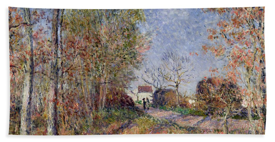 A Corner Of The Woods At Sablons Bath Sheet featuring the painting A Corner Of The Woods At Sablons by Alfred Sisley