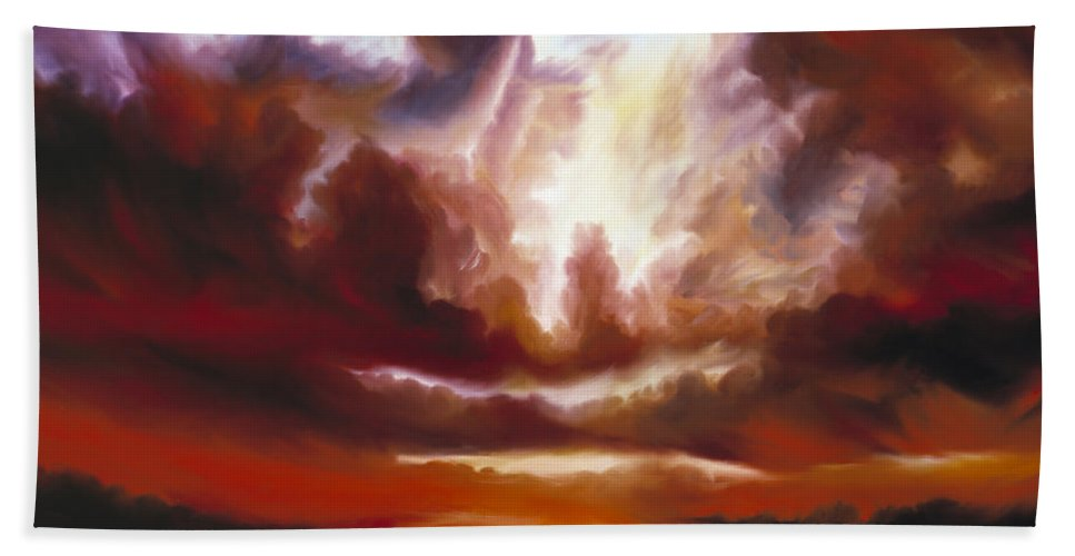 Tempest Hand Towel featuring the painting A Cosmic Storm - Genesis V by James Christopher Hill
