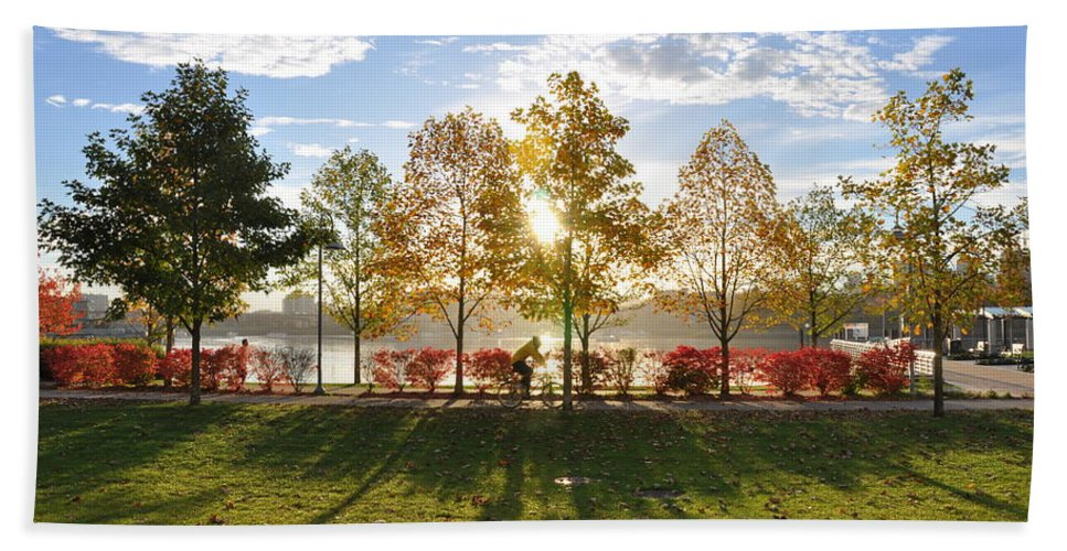 Fall Hand Towel featuring the photograph A Crisp Fall Morning by Caroline Reyes-Loughrey