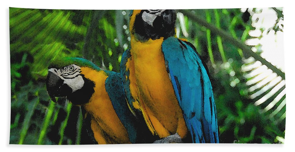 Tropical Bath Sheet featuring the painting A Curious Pair by David Lee Thompson