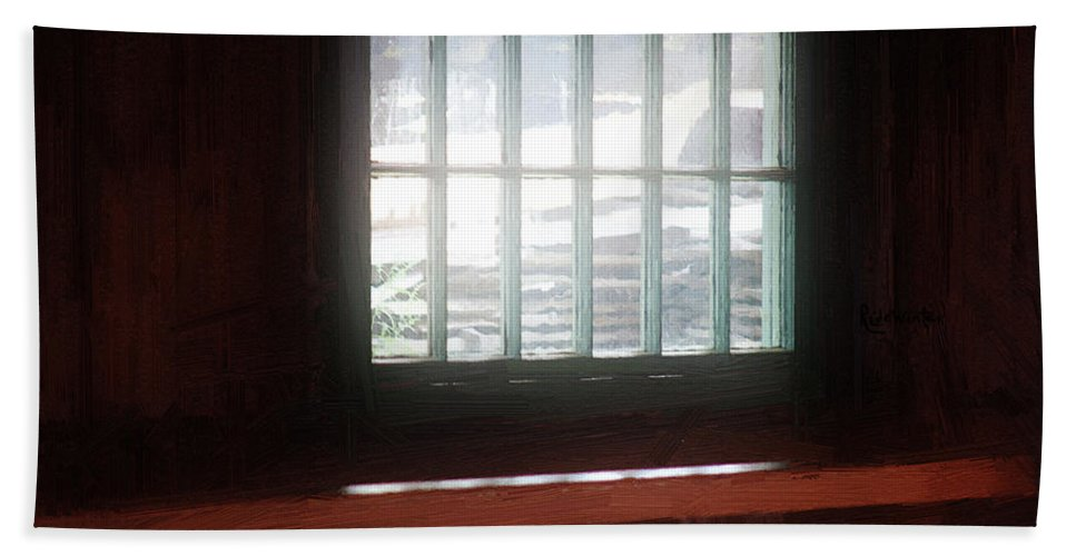 Window Hand Towel featuring the painting A Dark And Fearsome Place by RC deWinter