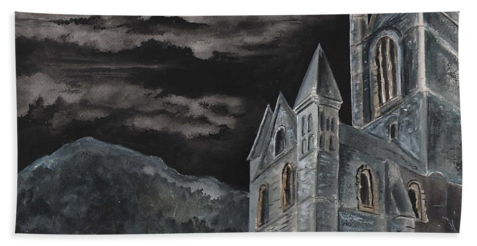 Landscape Gothic House Castle Church Dark Sky Watercolor Hand Towel featuring the painting A Dark Strange Night by Brenda Owen