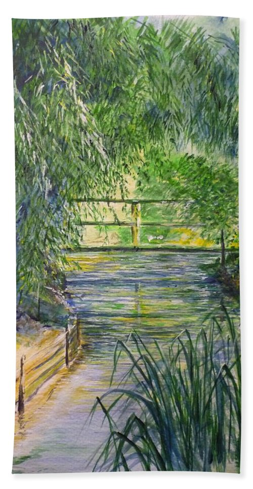 Giverny Bath Towel featuring the painting A Day At Giverny by Lizzy Forrester