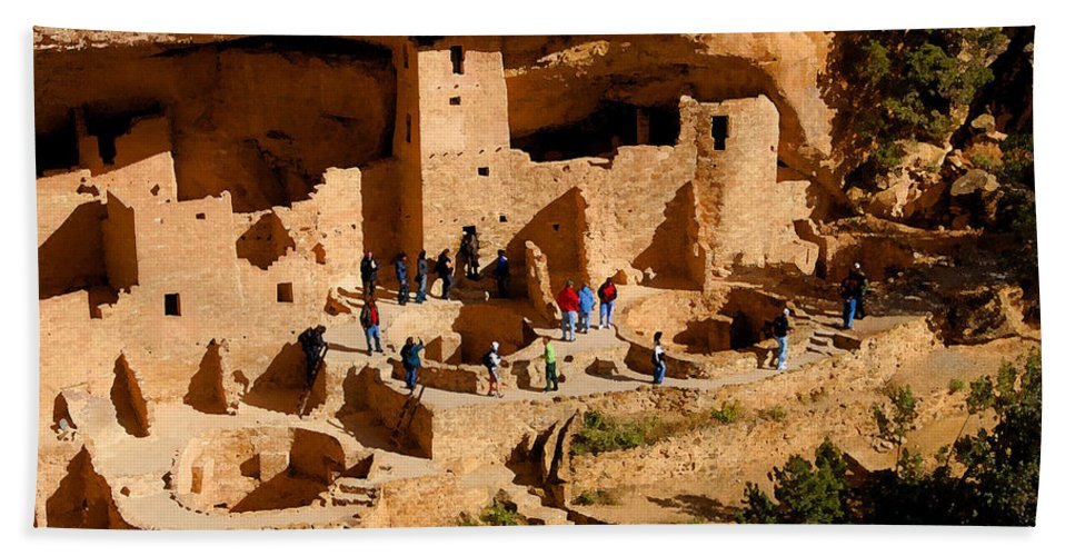 Art Bath Sheet featuring the painting A Day At Mesa Verde by David Lee Thompson