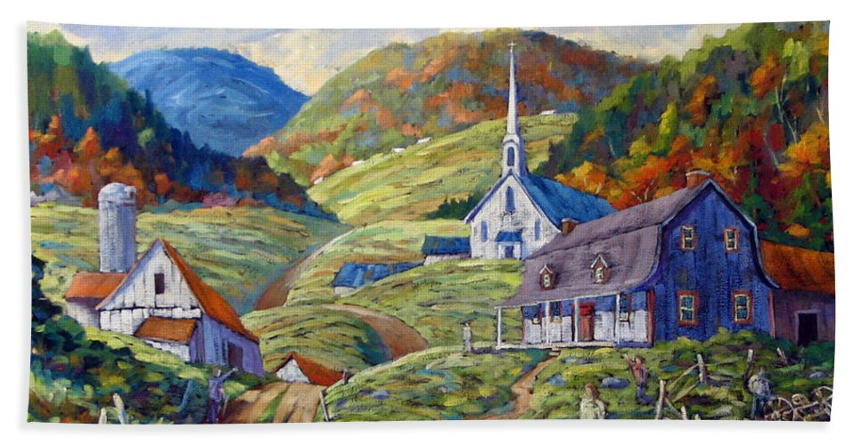 Landscape Bath Towel featuring the painting A Day In Our Valley by Richard T Pranke