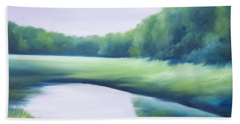 Nature; Lake; Sunset; Sunrise; Serene; Forest; Trees; Water; Ripples; Clearing; Lagoon; James Christopher Hill; Jameshillgallery.com; Foliage; Sky; Realism; Oils; Green; Tree; Blue; Pink; Pond; Lake Hand Towel featuring the painting A Day In The Life 1 by James Christopher Hill