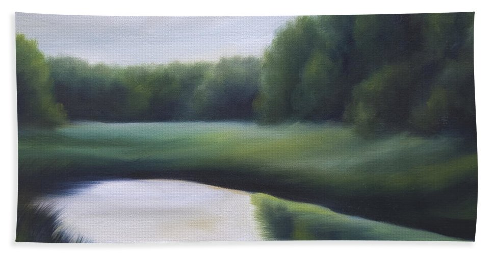 Nature; Lake; Sunset; Sunrise; Serene; Forest; Trees; Water; Ripples; Clearing; Lagoon; James Christopher Hill; Jameshillgallery.com; Foliage; Sky; Realism; Oils; Green; Tree Hand Towel featuring the painting A Day In The Life 3 by James Christopher Hill