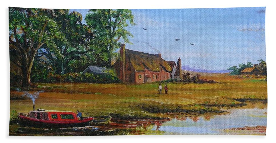 Canal Bath Sheet featuring the painting A Day On The Canal by Andrew Read