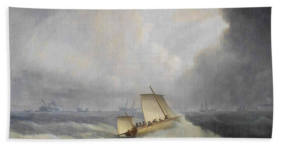 Thomas Buttersworth Bath Sheet featuring the painting A Deal Lugger Going Off To Storm Bound Ships In The Downs by Thomas Buttersworth