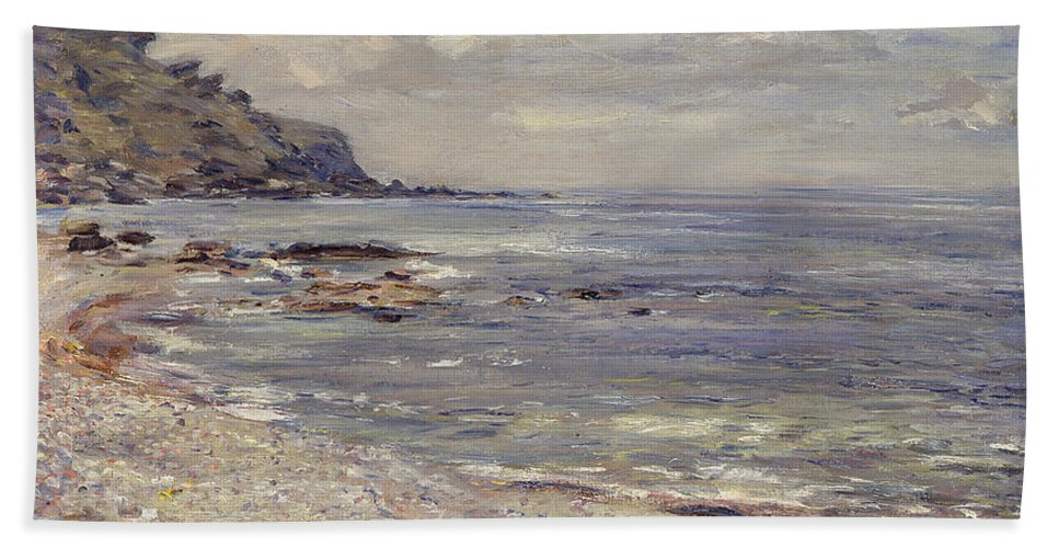 Beach Hand Towel featuring the painting A Deserted Rocky Shore by William McTaggart