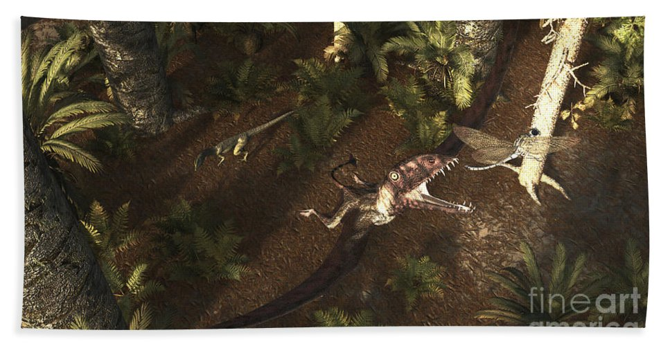Horizontal Bath Sheet featuring the digital art A Dimorphodon Pterosaur Chasing An by Arthur Dorety