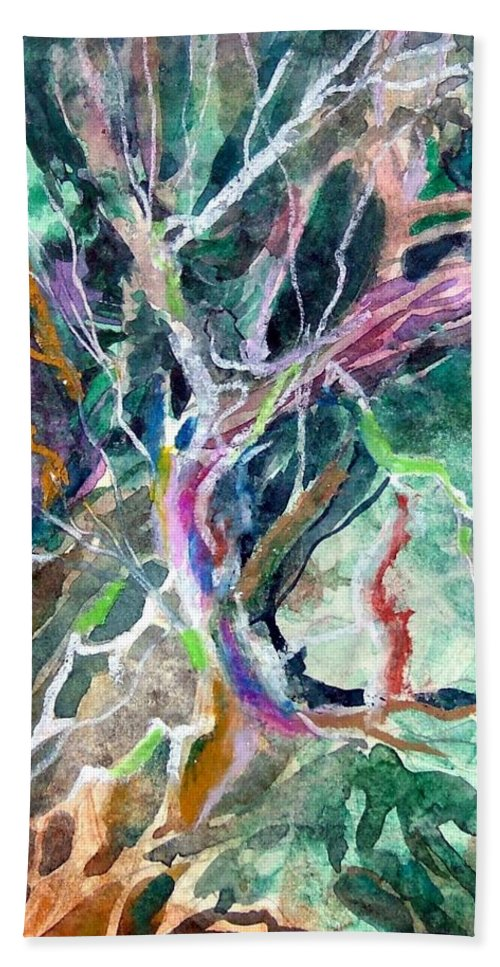 Tree Hand Towel featuring the painting A Dying Tree by Mindy Newman