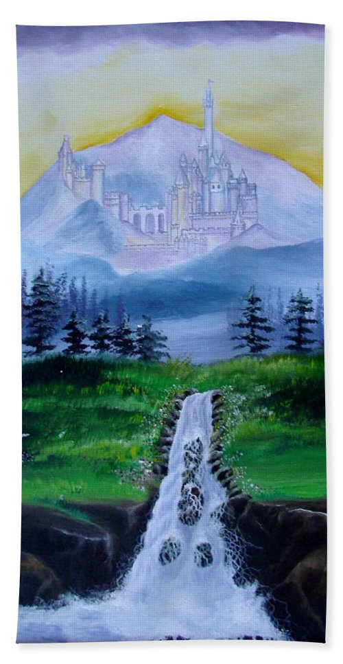 Landscape Hand Towel featuring the painting A Fairytale by Glory Fraulein Wolfe