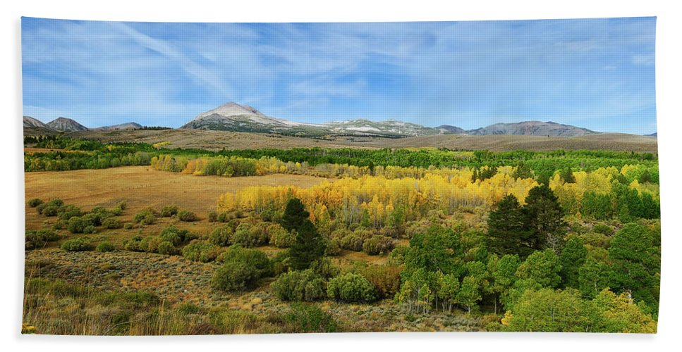 Autumn Bath Sheet featuring the photograph A Fall Day In The Sierras by Dennis Bolton