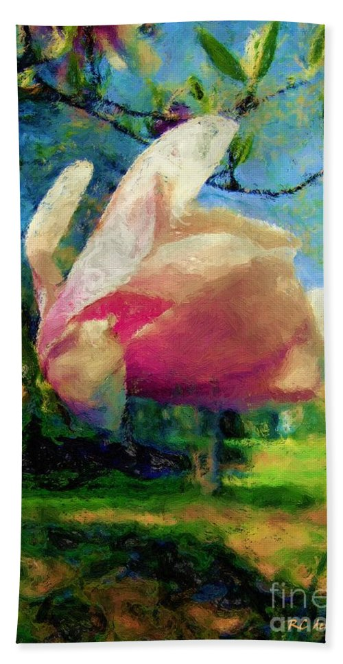 Magnolia Hand Towel featuring the painting A Fauve In Suburbia by RC DeWinter