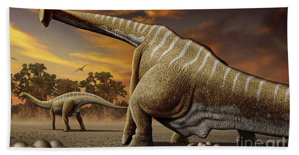 Horizontal Bath Sheet featuring the digital art A Female Apatosaurus Laying Her Eggs by Mohamad Haghani