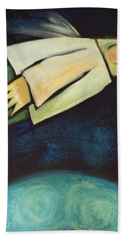 Universe Bath Towel featuring the painting A Finger Two Dots Then Me by Tim Nyberg