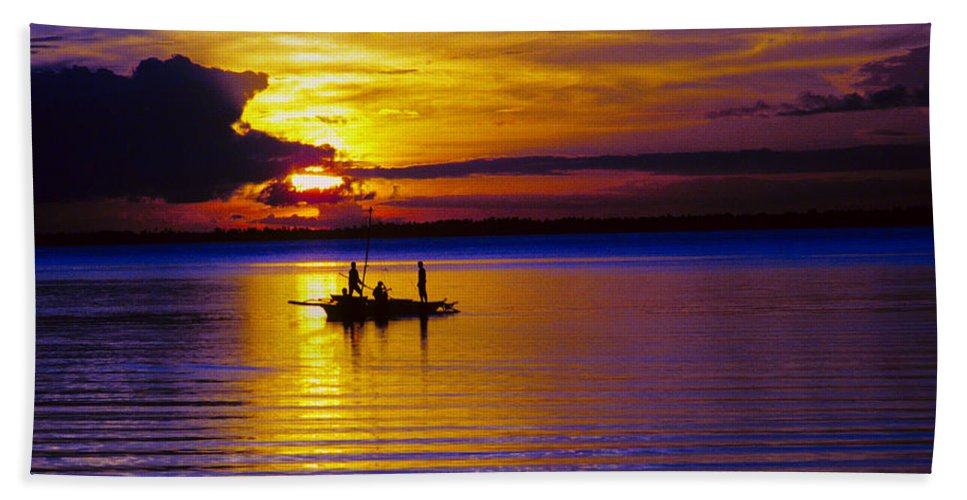 Sunset Bath Sheet featuring the photograph A Fisherman's Sunset by James BO Insogna
