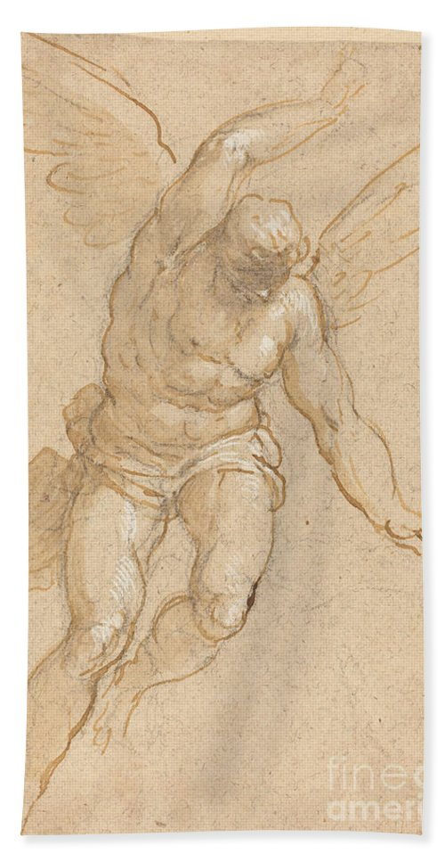 Hand Towel featuring the drawing A Flying Angel by Jacopo Palma Il Giovane