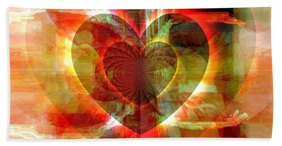 Fania Simon Bath Sheet featuring the digital art A Forgiving Heart by Fania Simon