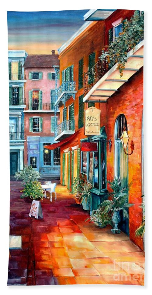 New Orleans Bath Sheet featuring the painting A French Quarter Evening by Diane Millsap