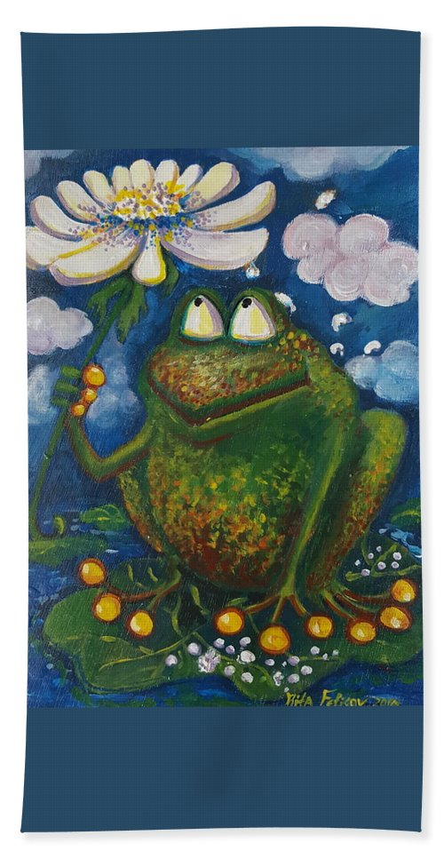 Frog Hand Towel featuring the painting Frog In The Rain by Rita Fetisov