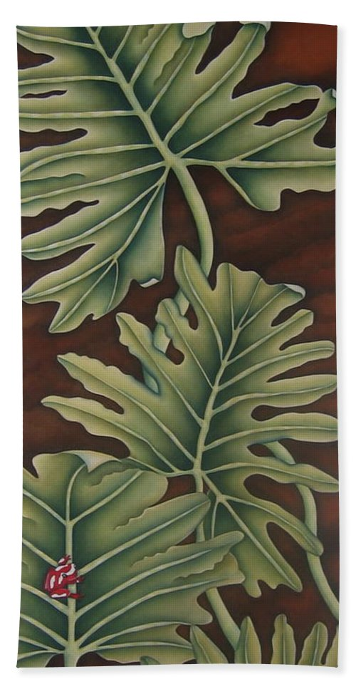 Frog Hand Towel featuring the painting A Frog On A Philodendron by Jeniffer Stapher-Thomas