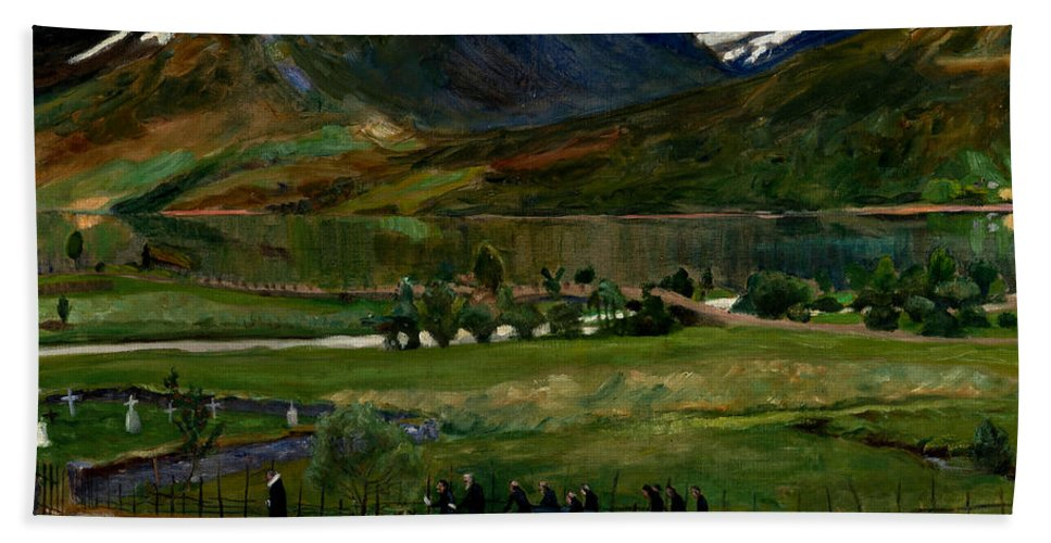 Nikolai Astrup Hand Towel featuring the painting A Funeral Day In Jolster by Nikolai Astrup