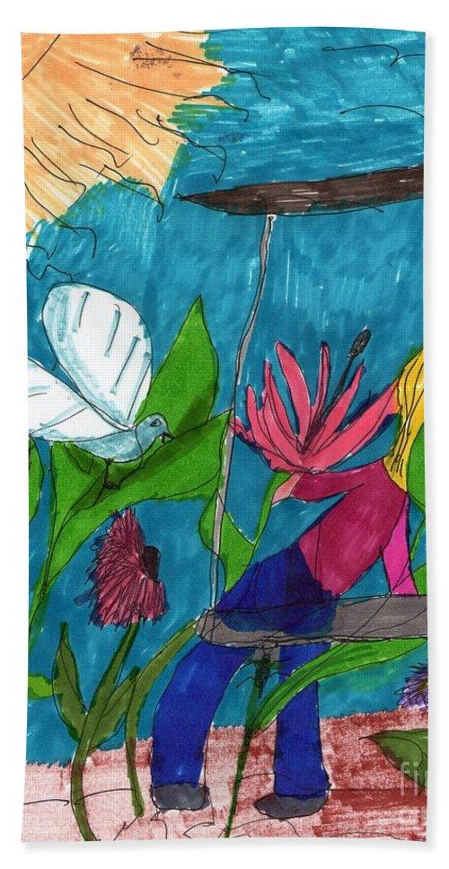 Girl On A Swing Frightened Of A Bird-like Creature Hand Towel featuring the mixed media A Garden Adventure by Elinor Helen Rakowski