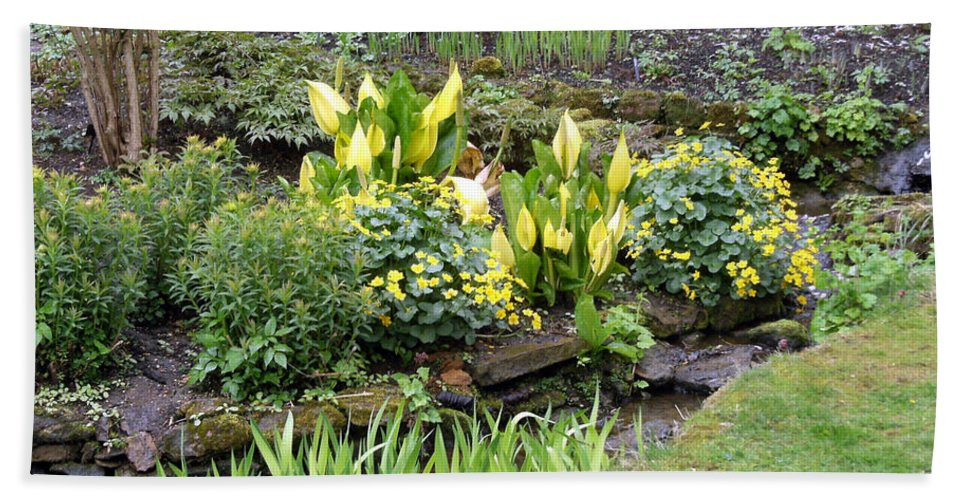 Yellow Bath Sheet featuring the photograph A Garden of Yellow by Mindy Newman