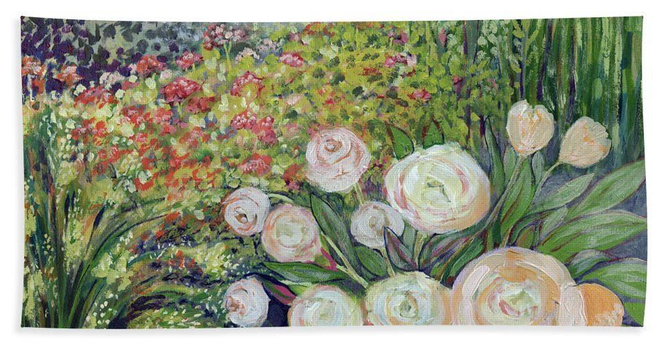 Impressionist Hand Towel featuring the painting A Garden Romance by Jennifer Lommers