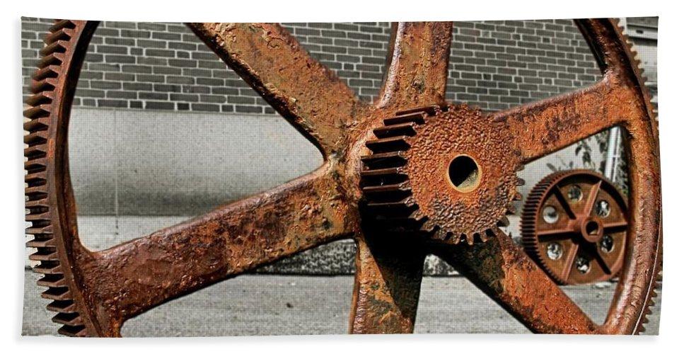 Bethlehem Steel Hand Towel featuring the photograph A Gear In A Gear by DJ Florek