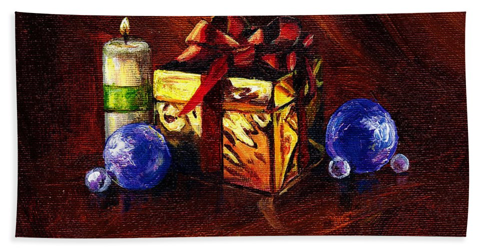 Gift Hand Towel featuring the painting A Gift For You by Amani Al Hajeri